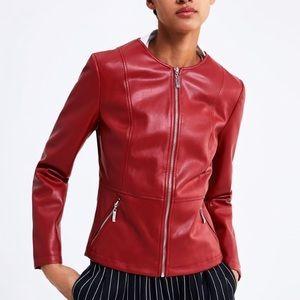 Zara NEW Womens Red Faux Leather Zip Jacket Sz S